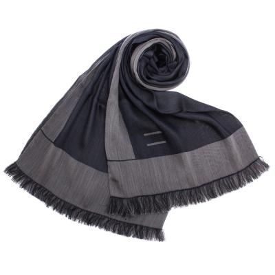 ARMANI COLLEZIONI 素面撞色混桑蠶絲披肩圍巾-藍色