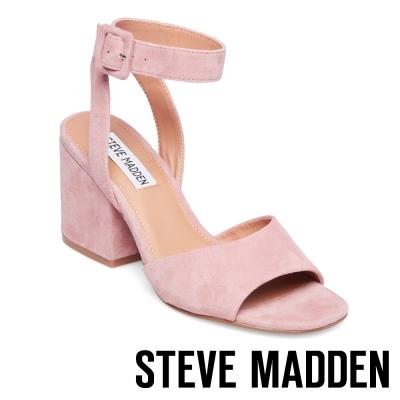 STEVE MADDEN-DEBBIE 麂皮踝帶方扣粗跟涼鞋-粉色