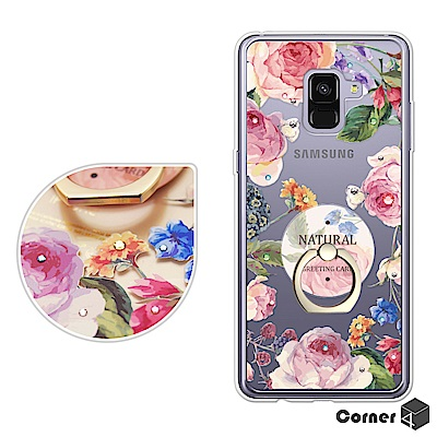 Corner4 Samsung A8+ 2018 奧地利彩鑽指環扣雙料手機-莓瑰