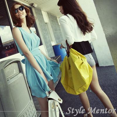 Style-Mentor-質感方形車縫旅行包-黃色