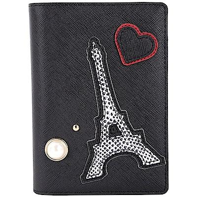 KARL LAGERFELD K/PARIS 水鑽貓咪鐵塔萬用護照夾(黑色)