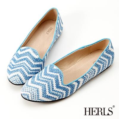 HERLS-條紋圖騰-柔軟樂福鞋-藍
