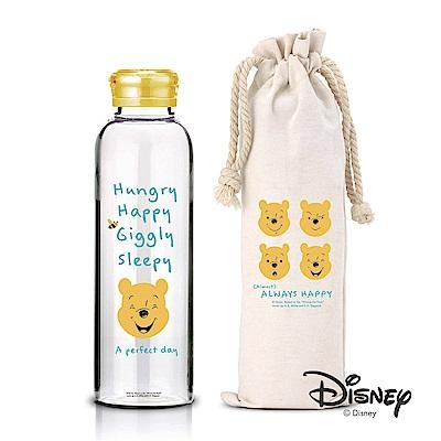 迪士尼Disney 微笑維尼耐熱玻璃瓶袋組370ml