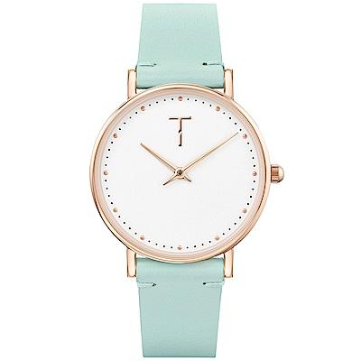 TYLOR 棉花派對時尚皮革手錶-白X綠/33mm