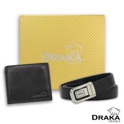 DRAKA 達卡 - 黃金禮盒 真皮皮夾+紳士皮帶-3204