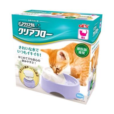日本GEX 愛貓圓滿平安 濾淨飲水皿 - 粉紫色 950ml