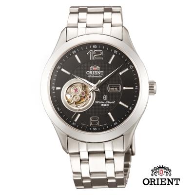 ORIENT 東方錶SEMI-SKELETON 藍寶鏡面小鏤空機械錶-黑/38.5mm
