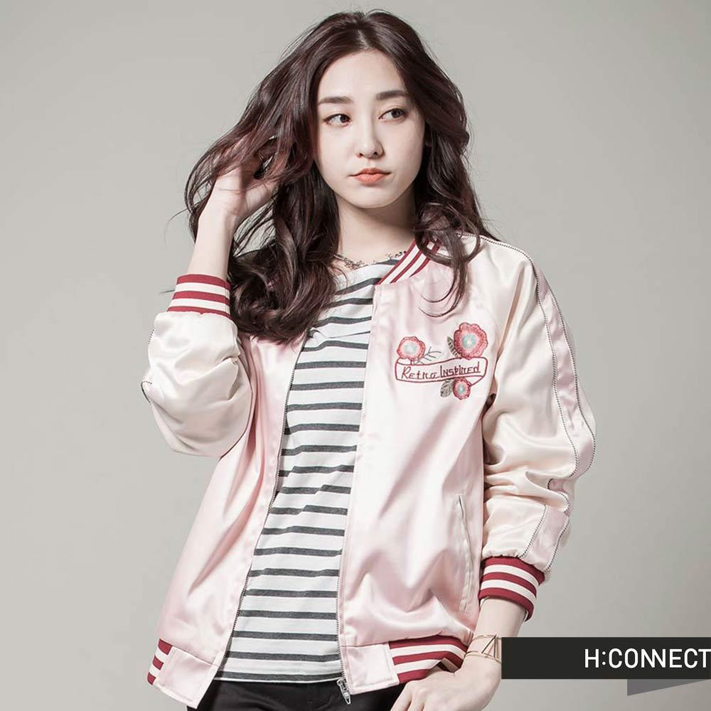 H:CONNECT 韓國品牌  女裝 - 華麗刺繡緞面飛行外套 - 粉