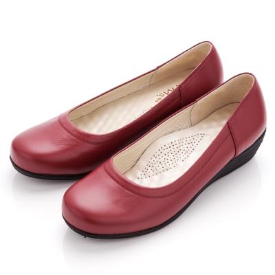 【G.Ms.】MIT系列‧通勤極品‧素面全真皮楔型娃娃鞋‧牡丹紅