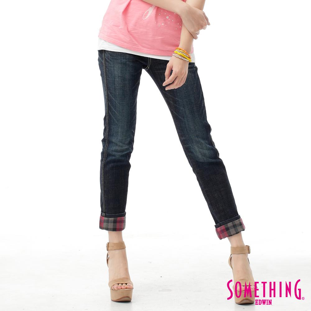 SOMETHING 八分褲 剪接格子牛仔褲-女-原藍磨