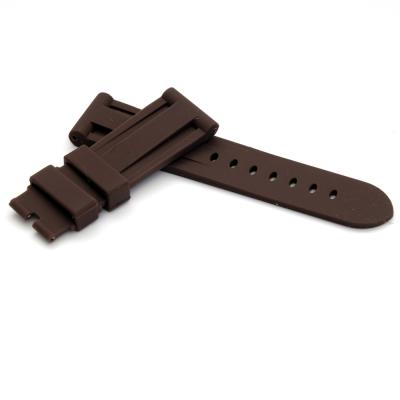 PARNIS BOX 24mm 代用錶帶 防水 矽膠錶帶 柔軟 咖啡