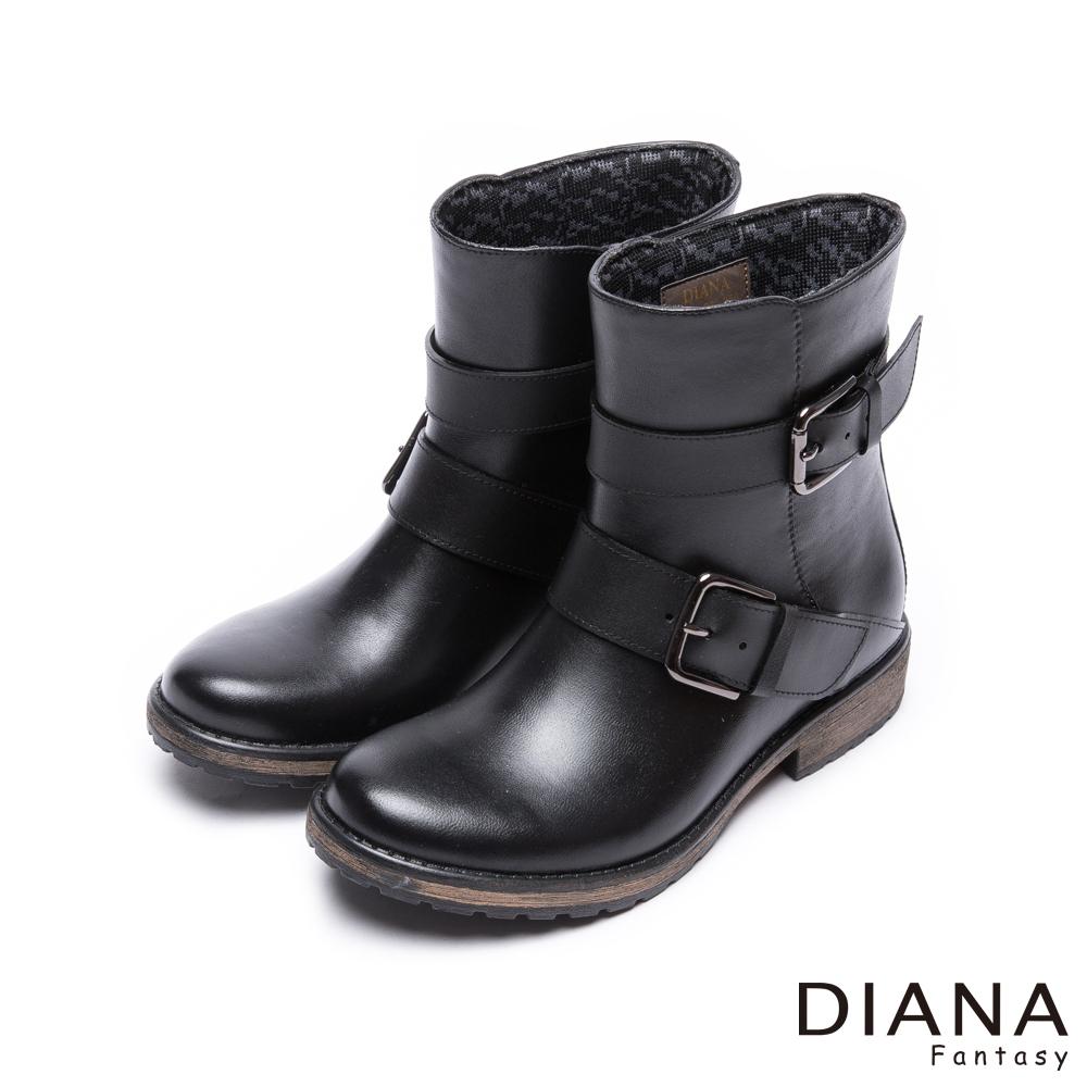 DIANA 時尚雨靴--質感木紋百搭經典方釦工程雨靴-黑