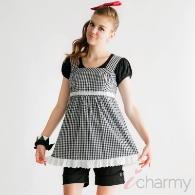 愛俏咪I charmy 紅白格紋蕾絲花邊腰圍鬆緊背心洋裝-黑白(SS3007)