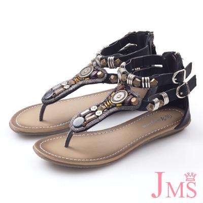 JMS-波希米亞風串珠夾腳 羅馬涼鞋-黑色