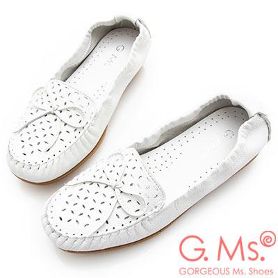 G.Ms. MIT系列-超軟Q彈力沖孔蝴蝶結牛皮莫卡辛休閒鞋-白色