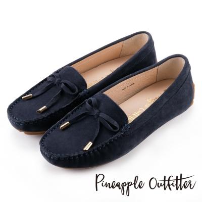 Pineapple Outfitter 簡約時尚  經典蝴蝶結真皮莫卡辛鞋-深藍