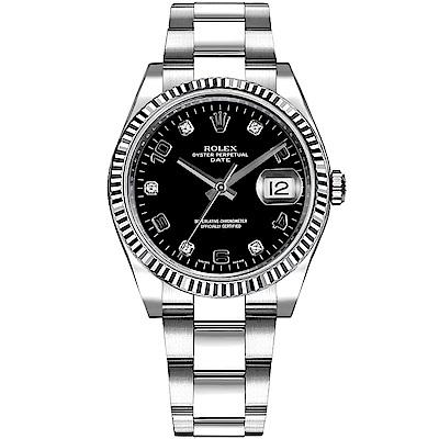 ROLEX 勞力士115234 Datejust 蠔式絕版名錶黑面鑽石-34mm