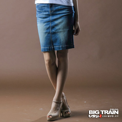 BIG-TRAIN-女款-伸縮和風及膝裙-中藍