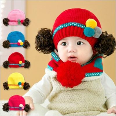 韓版 寶寶 假髮造型 (毛線帽+圍脖) 兩件組