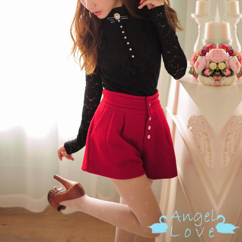 【Angel Love】甜美俏皮毛呢打摺A字短褲 (紅色)