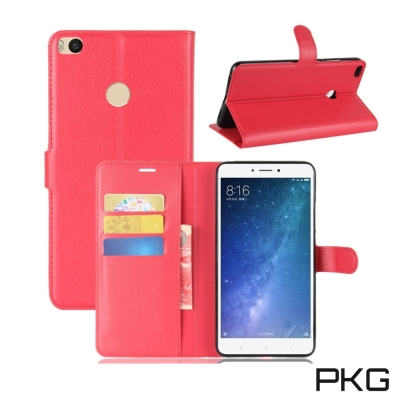 PKG 小米MAX2 側翻式皮套經典皮革系列-紅色