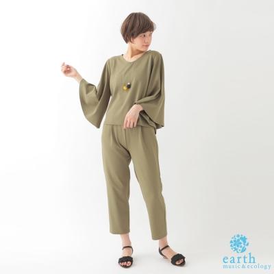 earth music SET ITEM氣質素面寬袖上衣+前打摺鬆緊腰長褲