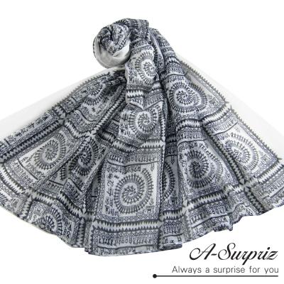 A-Surpriz-神秘古挨及圖紋巴黎紗圍巾-氣質白