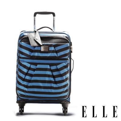 福利品 ELLE 20吋優雅流線海軍風登機箱-藍黑條紋