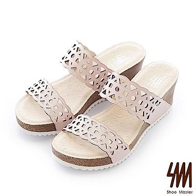 SM-台灣全真皮-錢幣鏤空軟木一字中高楔型拖鞋-粉色
