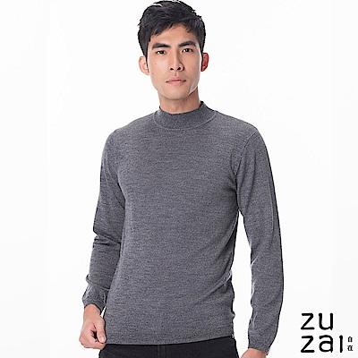zuzai 自在發熱衣BIELLA YARNN男圓領羊毛衫-霧黑色
