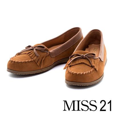 MISS-21-流蘇柔軟牛麂皮內增高莫卡辛鞋-咖