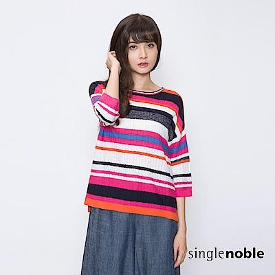 獨身貴族 揮灑繽紛金蔥條紋配色針織衫(2色)