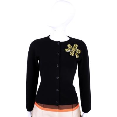 MOSCHINO 黑色豹紋寶石飾羊毛外套