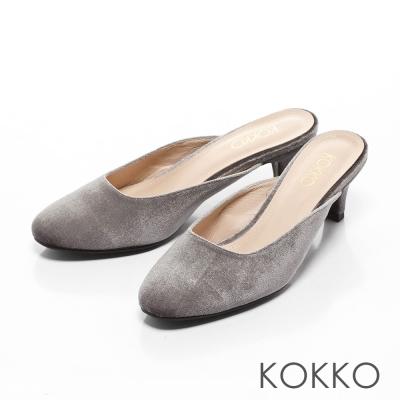 KOKKO-光感奪目天鵝絨小貓跟穆勒鞋-太空銀