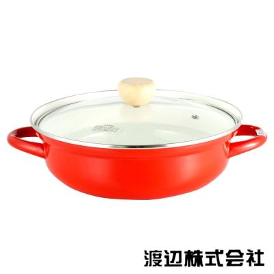 0608-日本渡邊-30cm雙耳琺瑯湯鍋-聖誕紅