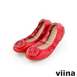 viina 經典款荔枝皮紋logo摺疊鞋MIT-紅