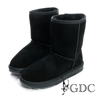 GDC溫暖-經典素面鋪毛真皮中筒雪靴-黑色