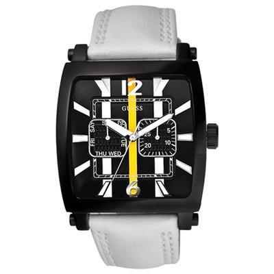 GUESS 運動時尚雙眼功能錶-黑x白/39mm