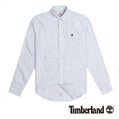 Timberland-男款藍色直條紋LOGO刺繡長