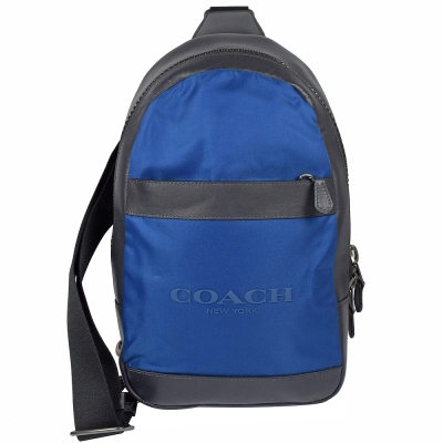 COACH大LOGO尼龍拼牛皮單肩斜後背包藍