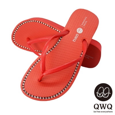 QWQ夾拖的創意(女) - 慛燦面鑽 3cm夾腳拖鞋 - 搖滾紅