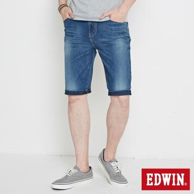 EDWIN-迦績褲-彩虹繡花牛仔短褲-男-石洗綠