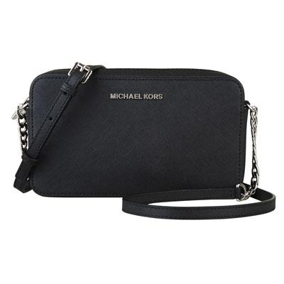 MICHAEL KORS JET SET TRAVEL銀字防刮牛皮鏈帶方型斜背包(中/黑)