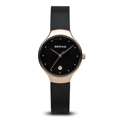 BERING-日期顯示米蘭錶帶系列 藍寶石鏡面 玫瑰金x黑 小錶面26mm