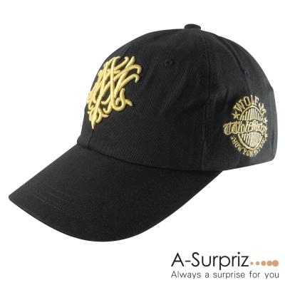 A-Surpriz 潮系休閒風金色圖騰棒球帽(率性黑)