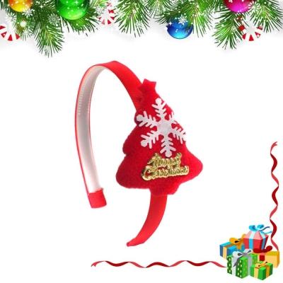 摩達客 浪漫紅色雪花聖誕樹髮箍