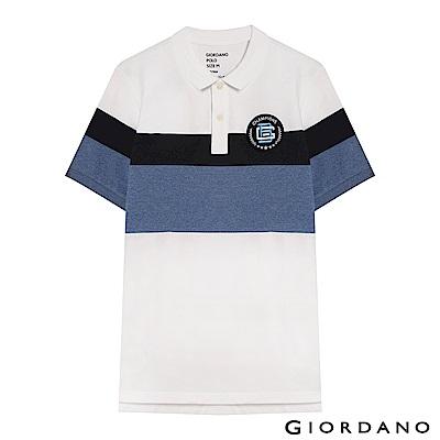 GIORDANO 男裝拿破崙刺繡徽章彈力棉POLO衫-19 標誌白/標誌海軍藍