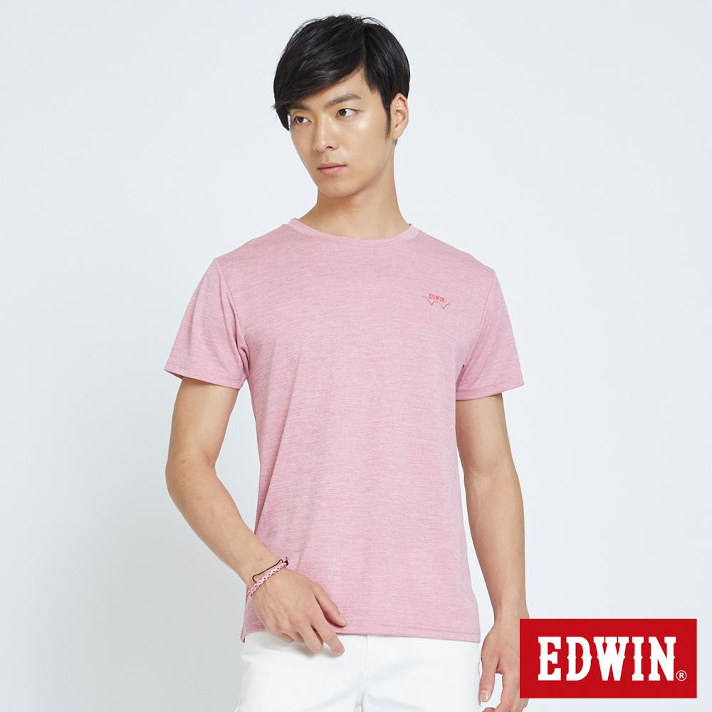 EDWIN 涼感圓領LOGO印花T恤-男-淺粉