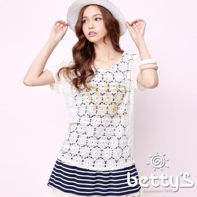 betty-s網路款-皇冠印花珍珠裝飾假兩件長板衣-米白