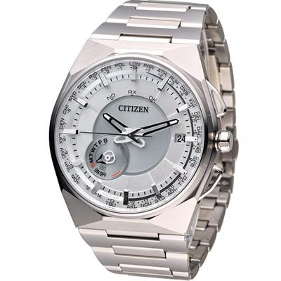 CITIZEN 衝鋒衛星對時鈦金屬旗艦腕錶(CC2001-57A)-白x銀/45mm